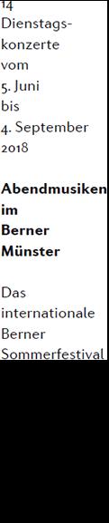 Abendmusiken 2018 Berner Münster